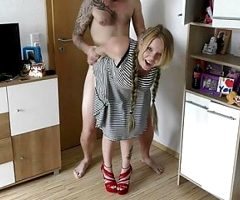 Shy teen girl with huge boobs gets fucked hard