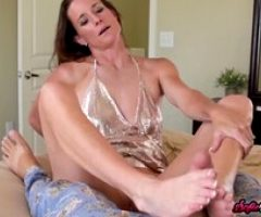 Sofie Marie Jerks Off Stepsons Cock with Her Feet POV
