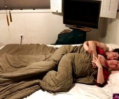 Stepmom shares bed with stepson