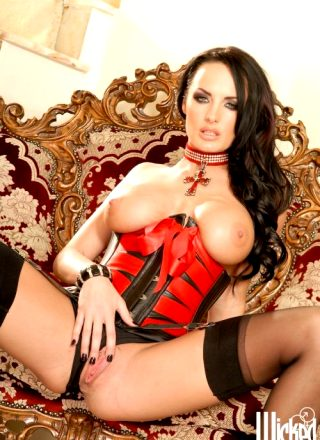 Alektra Blue In Sexy Red And Black Lingerie