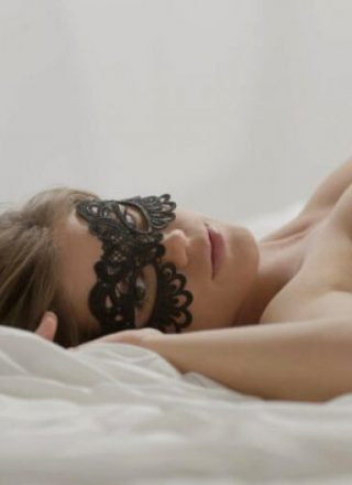 Caprice with sexy lace mask