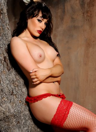 Charlotte Narni – Red Lingerie With Fishnet Stockings